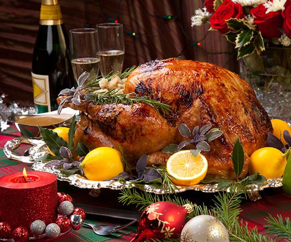 Christmas turkey and champagne